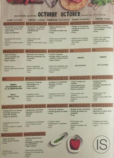 Menú del comedor escolar de octubre a diciembre de 2017