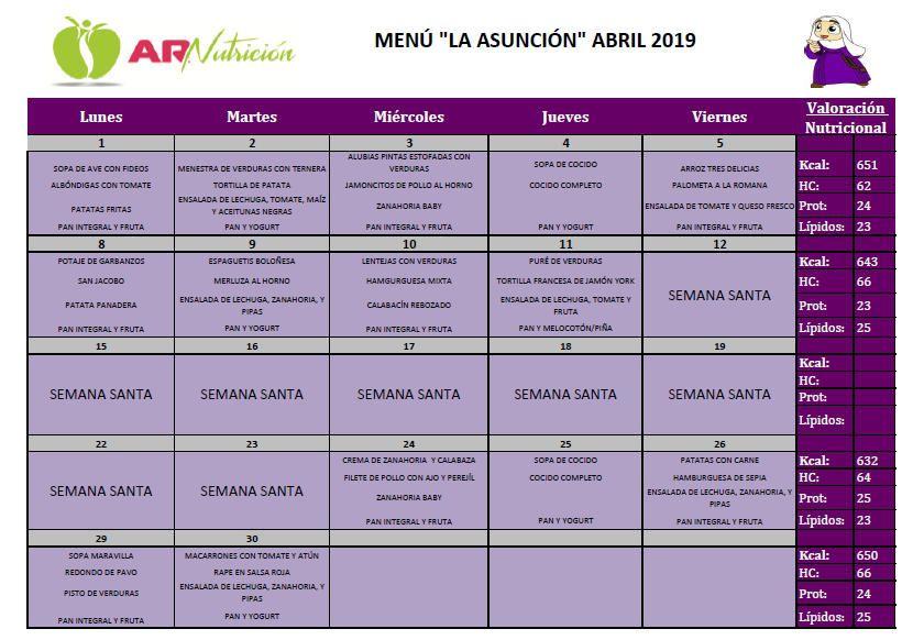 Menú del comedor escolar - Abril 2019